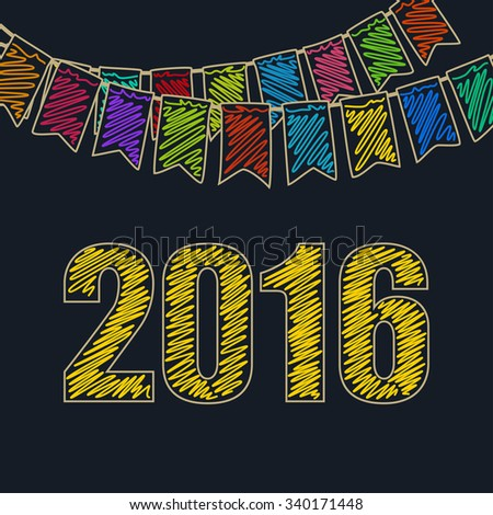 2016 Merry Christmas and Happy New Year, Christmas Festive Background, Holiday Colorful Colored Bunting Flags and the Yellow Date of 2016, Drawing Crayons or Markers - stock photo