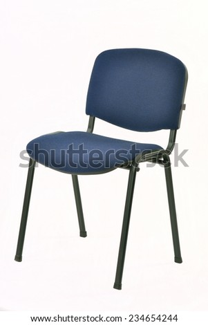 metal chair with padded blue seat