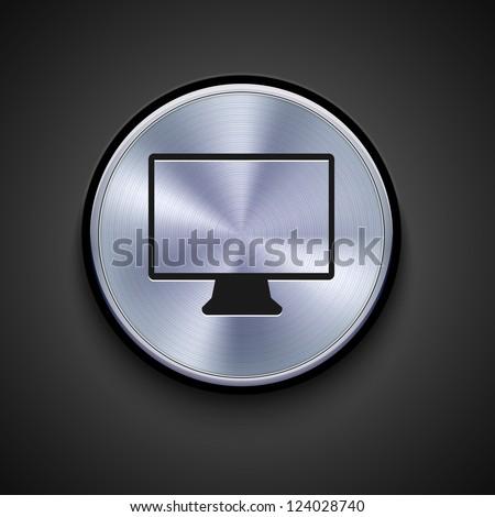 metal icon on gray background - stock photo