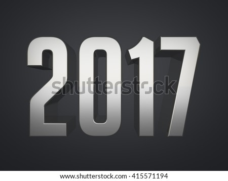 2017 metallic text 3d render calendar background - stock photo