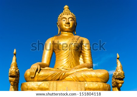 12 meters high Big Buddha Image, made of 22 tons of brass in Phuket,Thailand