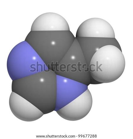 4-methylimidazole (4-MEI) suspected carcinogen molecule. 4-MEI is probable carcinogenic present in some cola drinks. - stock photo