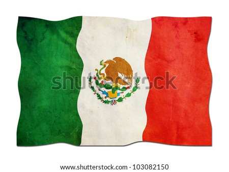 Mexican Flag made of Paper - stock photo