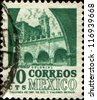 MEXICO - CIRCA 1967: A stamp printed in Mexico shows building in Morelos, series colonial architecture, circa 1967 - stock photo