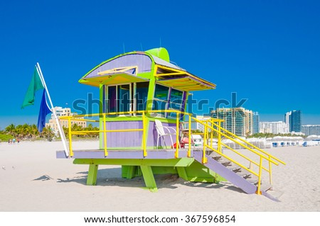 Miami Beach, Florida - Colorful Lifeguard Tower in South Beach - stock photo