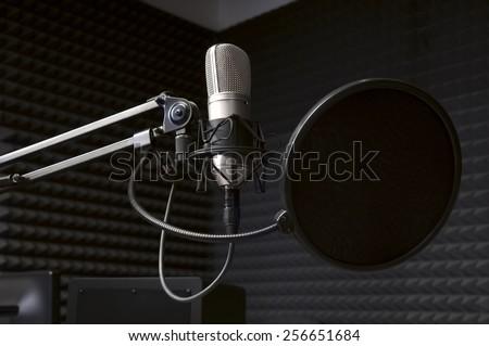 microphone in the radio Studio - stock photo
