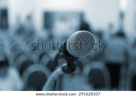 microphone on stage, microphone in conference hall ,Close up of microphone in concert hall or business conference room