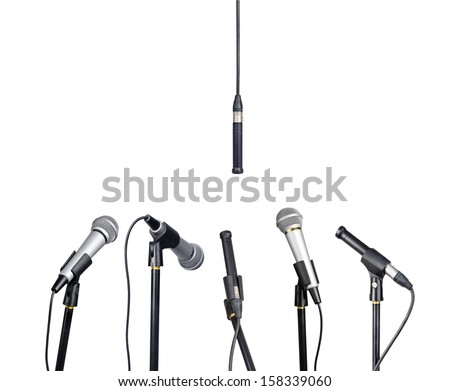 Microphones for press conference, isolated on white  - stock photo