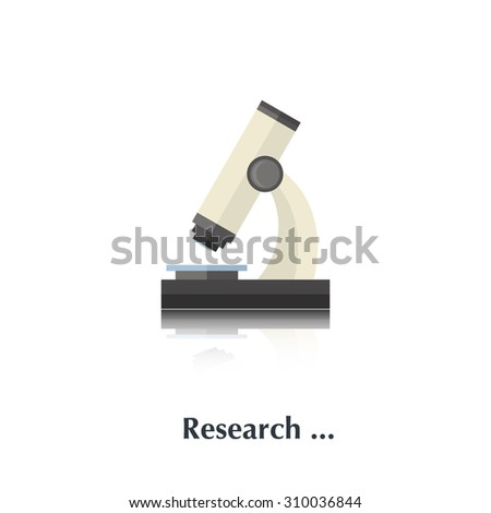 Microscope sign,icon,pictogram,symbol isolated in a white background with text in flat style - stock photo