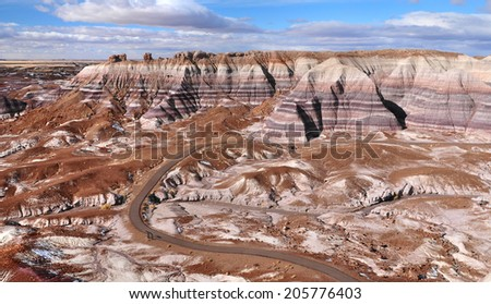 1.1 miles Blue Mesa hiking trail winds through stunning badlands formation at Petrified Forest National Park in North East Arizona USA.