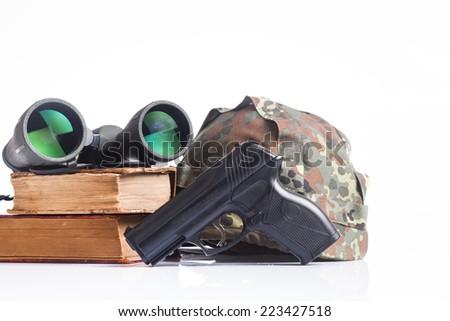 military equipment with helmet, and binoculars - stock photo