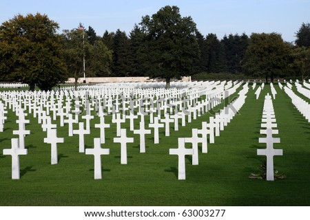 """military-sold at-cemetery-American-Europe"" - stock photo"