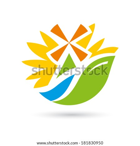 Mill on the river sunflower Branding Identity Corporate logo design template Isolated on a white background - stock photo