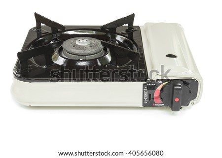 Mini gas stove on white background
