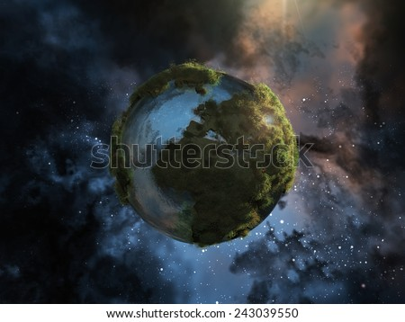 Mini planet earth with herbs floating in space - stock photo