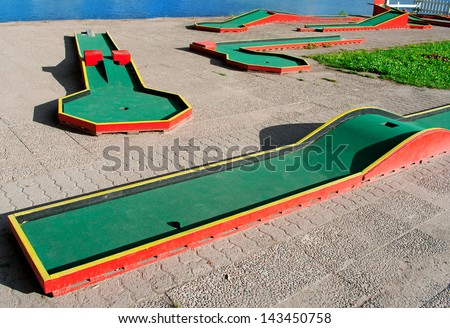 miniature golf course - stock photo