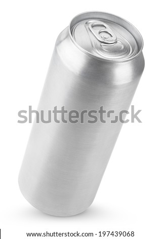 500 ml aluminum beer can isolated on white with clipping path - stock photo