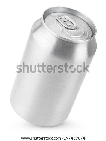 330 ml aluminum soda can isolated on white with clipping path - stock photo