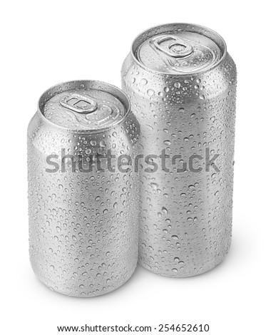 500 ml and 330 ml aluminum beer cans with water drops isolated on white - stock photo