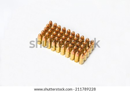9mm Ammo bullets in light background