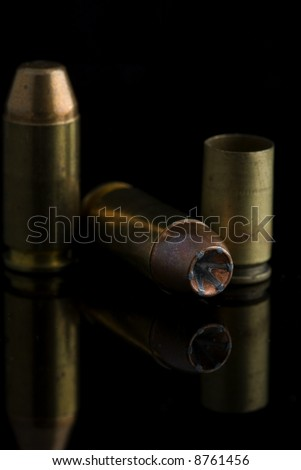 9mm ammunition with empty shell casings