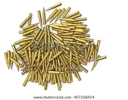 5.56 mm cartridge 3d illustration on an isolated background - stock photo