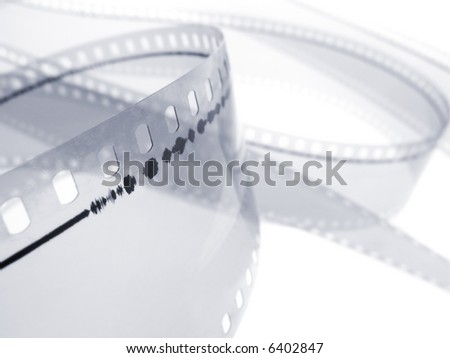 35 mm film audio track isolated in white background. Shallow depth of field. Macro shot - stock photo