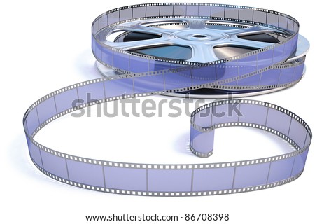 35 mm film reel. isolated on white. - stock photo
