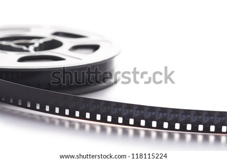 8mm film reel on white background - stock photo