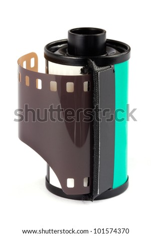 35mm film roll over white - stock photo