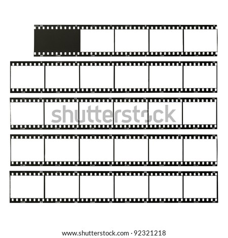 35 mm format film strips cut for test, isolated on white