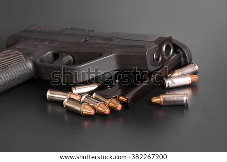 9 mm Gun and Ammunition - stock photo