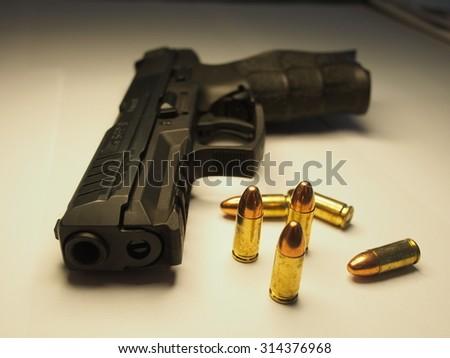 9mm pistol - stock photo