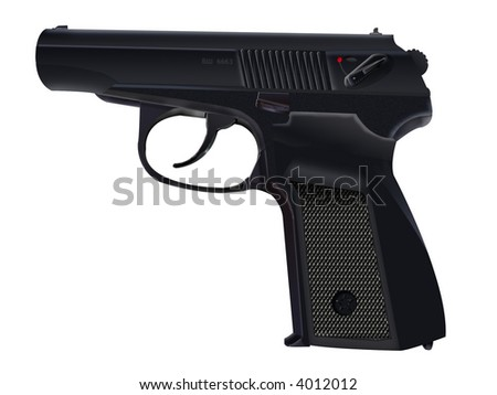 9 mm pistol PM on a white background