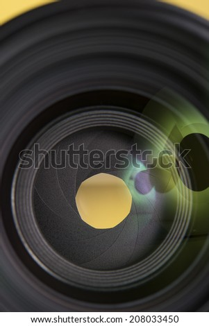 50mm prime camera lens. 50mm prime camera lens, camera objective, macro shot.  - stock photo