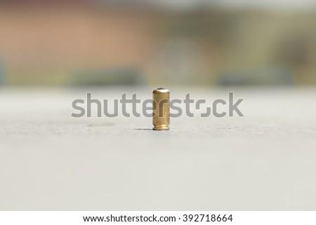 9mm resin gun round.  - stock photo