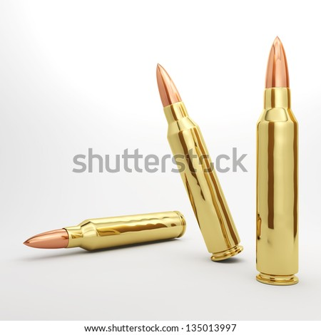 3 5.56mm rifle bullets spread out.