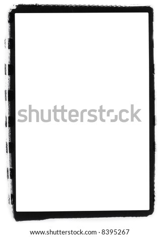 35mm rough film edge border.  Printed in the darkroom with over sized negative carrier. - stock photo