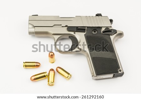 .380 mm/Semi-automatic handgun on white background - stock photo