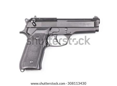 9mm semi-automatic pistol on white background - stock photo