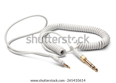 3,5mm Stereo Male to 6,3mm Strereo TRS Male Audio Cable on white background - stock photo