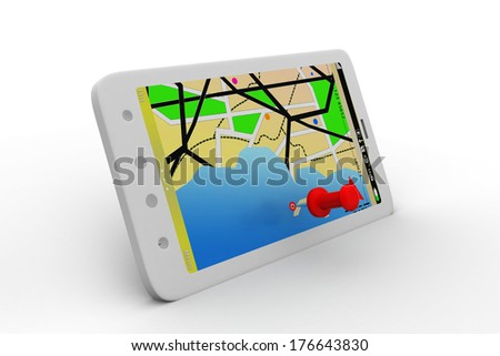 Mobile map with magnifying glass