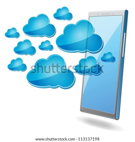 mobile phone with blue cloud computing icons on a white background - stock photo