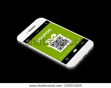 mobile phone with discount coupon lying on black table - stock photo