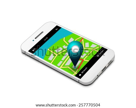 mobile phone with map and gps application isolated over white background - stock photo