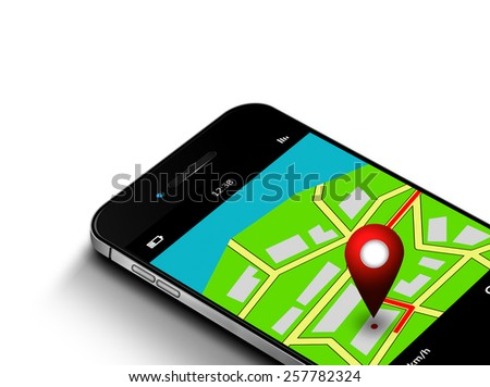 mobile phone with map and gps application isolated over white background