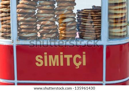 Mobile shop of a simitci - stock photo