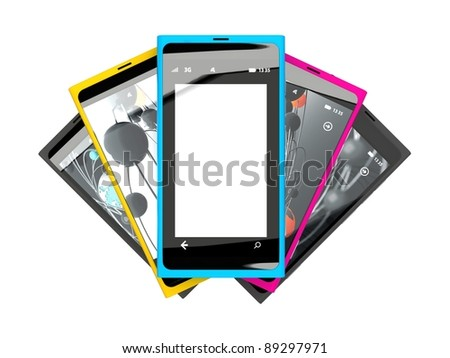 Mobile smart phone on white background.