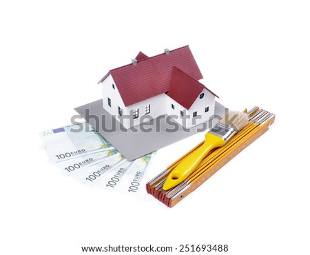 model house , construction plan for house building, tools and banknotes  ,isolated white background ,concept of buying a house  - stock photo