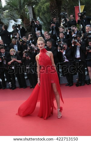 Model Rosie Huntington-Whiteley attends 'The Unknown Girl (La Fille Inconnue)' Premiere duirng the annual 69th Cannes Film Festival at Palais des Festivals on May 18, 2016 in Cannes, France. - stock photo